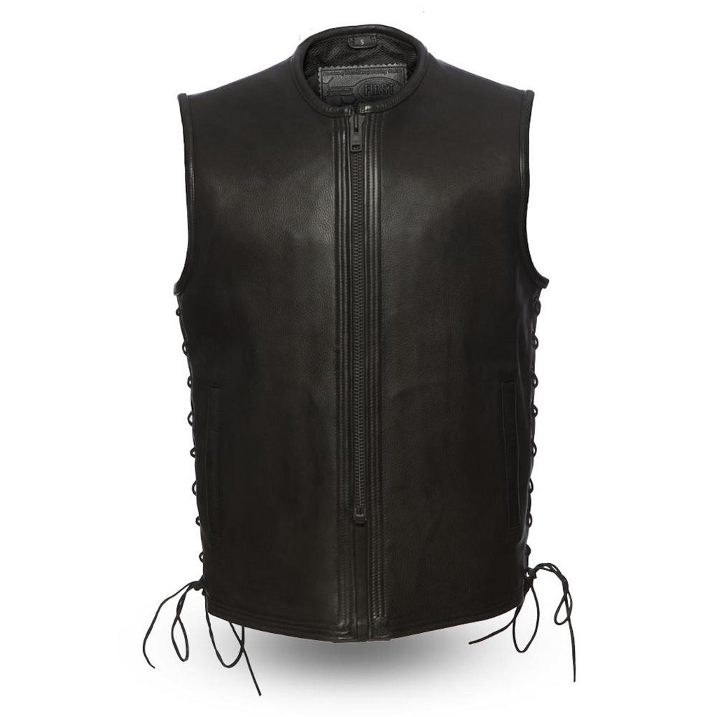 1.4mm Leather Motorcycle Vest With Clean Front Center Zip Side Laces Solid Back Gun Pockets