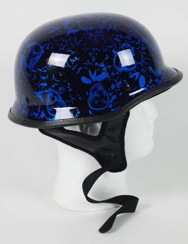 DOT Certified German Skull Bone Yard Blue Motorcycle Biker Helmet