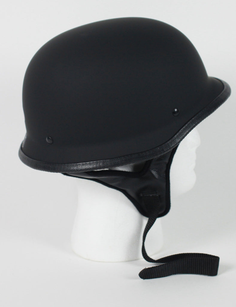 DOT Certified German Style Motorcycle Biker Helmet Dull Matt Black