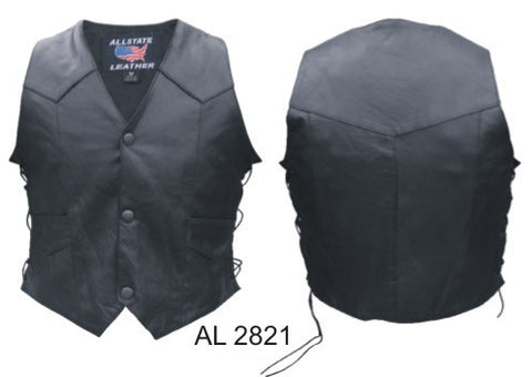 Children's Plain Black Classic Leather Motorcycle Vest with Side Laces