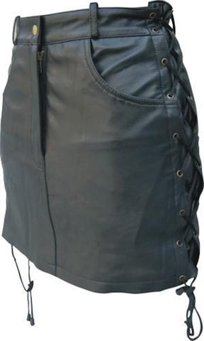 Ladies Lambskin Leather Skirt with Side Laces