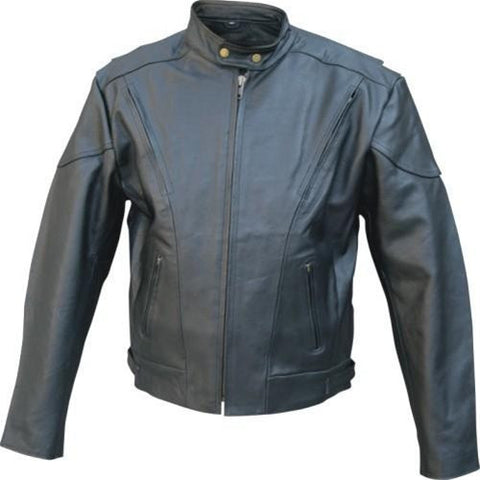 Men's Black Naked Leather Vented Touring Motorcycle Jacket Side Zippers