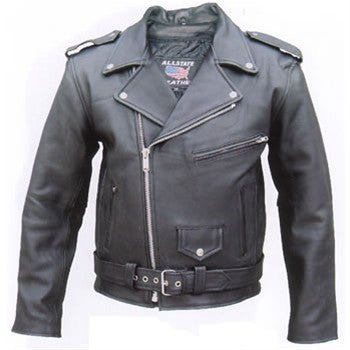 Mens Black Classic Quality Buffalo Leather Motorcycle Jacket