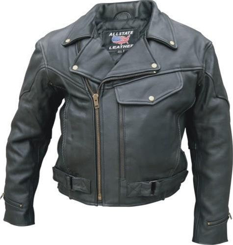 Men's Drum Dyed Naked Cowhide Leather Vented Motorcycle Jacket with Braid Trim