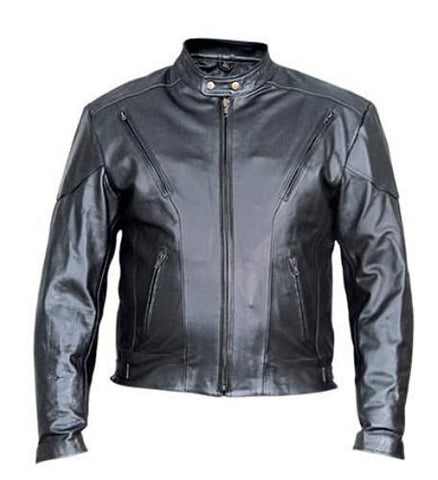 Men's Black Analine Leather Vented Touring Motorcycle Jacket