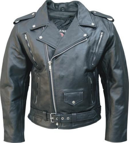 Men's Black Vented Water Buffalo Leather Motorcycle Jacket Zip Out Liner