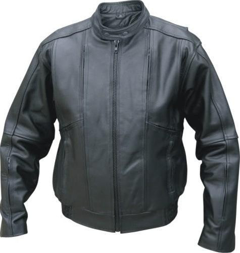 Men's Black Cowhide Vented Touring Bomber Motorcycle Jacket