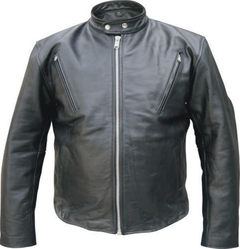 Mens Vented Touring Scooter Buffalo Leather Motorcycle Jacket
