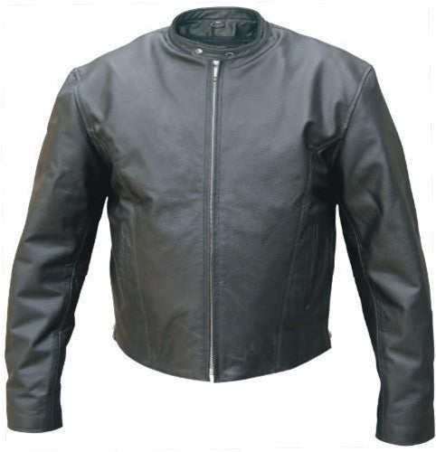 Men's Black Premium Aniline Leather Motorcycle Jacket Zip Out Liner
