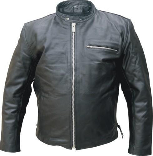 Men's Black Buffalo Leather Touring Motorcycle Jacket with Side Laces