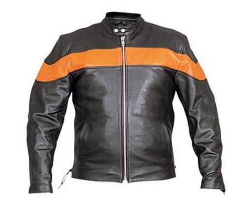 Men's Black And Orange Leather Touring Motorcycle Jacket Side Laces