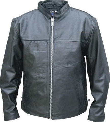 Men's Lightweight Black Leather Touring Summer Jacket With Side Laces
