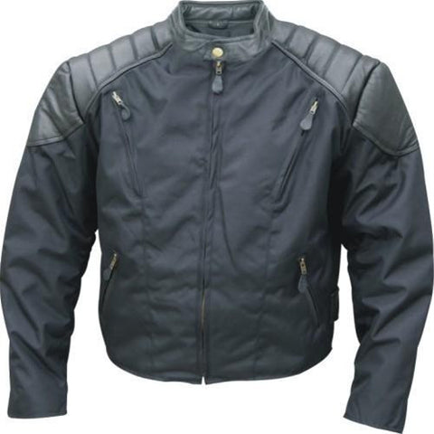 Men's Cordura & Black Leather Vented Motorcycle Jacket Zip Out Liner