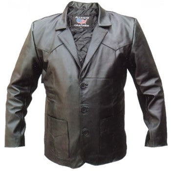 Men's Three Button Black Buffalo Leather Blazer