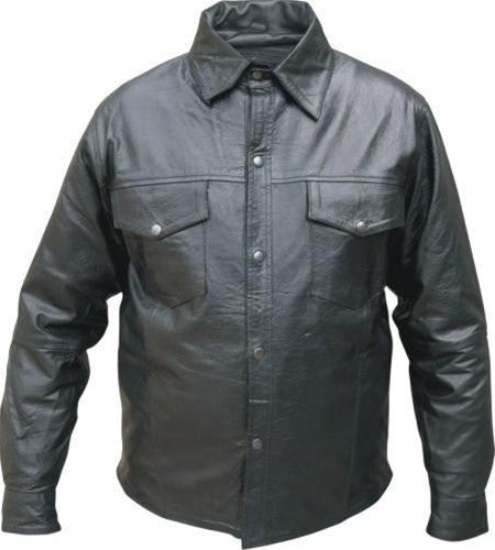 Men's Black Buffalo Leather Western Style Shirt