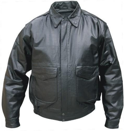Men's Black Goatskin Leather Bomber Style Jacket