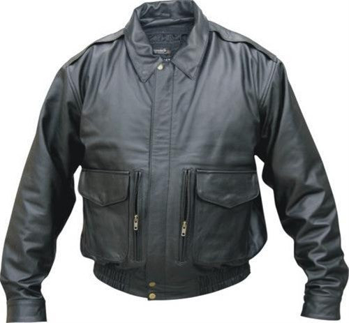 Men's Vented Black Leather Bomber Jacket With Neck Warmer