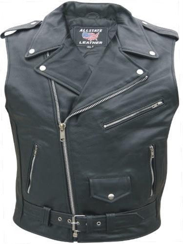 Mens Sleeveless Jacket Black Leather Motorcycle Biker Vest