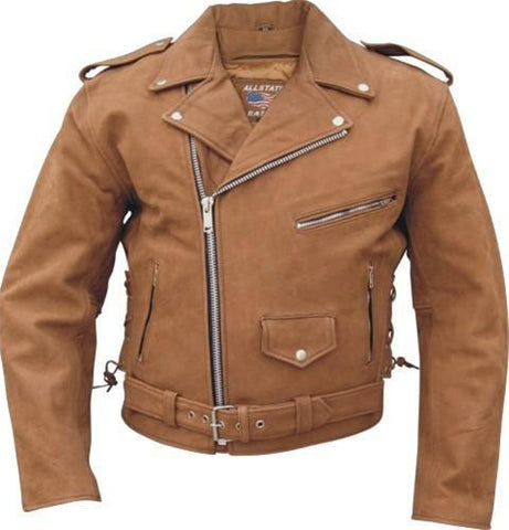 Men's Brown Leather Deluxe Motorcycle Jacket With Side Laces