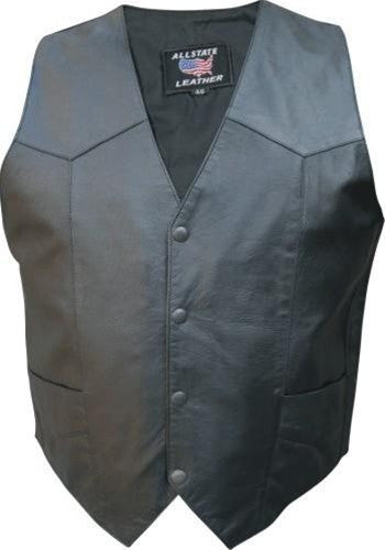 Men's Basic Black Goat Skin Leather Motorcycle Vest