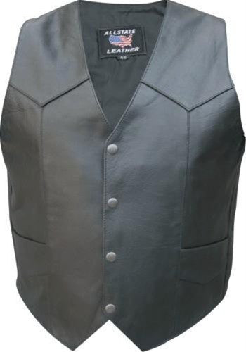 Men's Basic Black Buffalo Leather Motorcycle Vest Snap Front