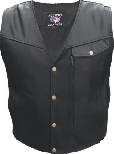 Men's Black Buffalo Leather Motorcycle Vest With Braid Trim