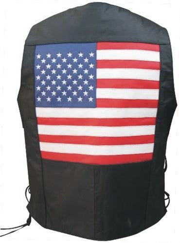 Men's USA Flag Black Buffalo Leather Motorcycle Vest Side Laces