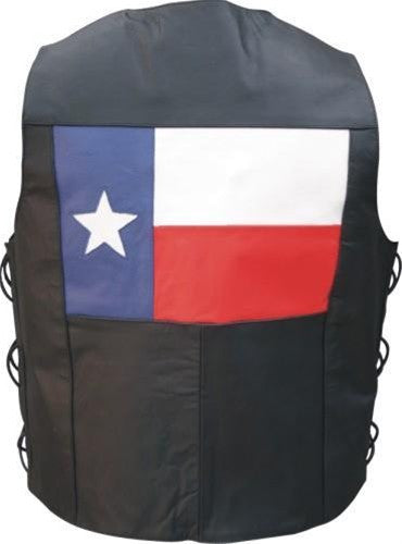 Men's Texas Flag Black Buffalo Leather Motorcycle Vest Side Laces