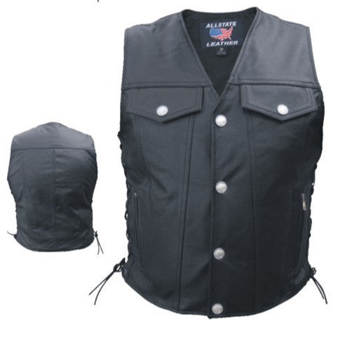 Men's Denim Style Black Leather Motorcycle Vest with Buffalo Snaps