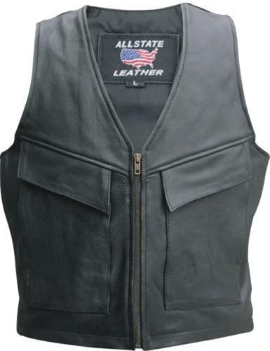 Men's Black Naked Leather Cargo Motorcycle Vest