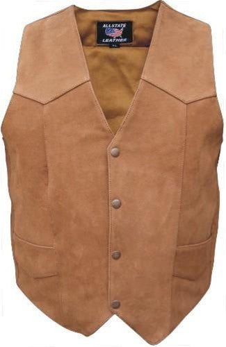 Men's Brown Classic Buffalo Leather Motorcycle Vest