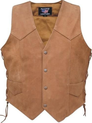 Men's Brown Classic Leather Motorcycle Vest with Side Laces
