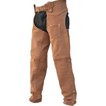 Unisex Brown Buffalo Leather Motorcycle Chaps