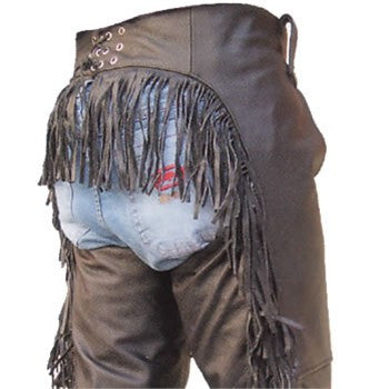 Women's Black Buffalo Leather Motorcycle Chaps with Fringes