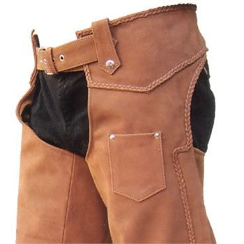 Unisex Brown Buffalo Leather Motorcycle Chaps with Braid Trim