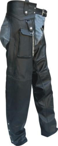 Classic Black Leather Motorcycle Chaps with Cargo Pocket