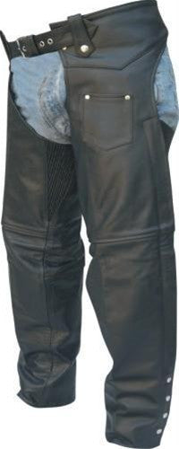 Black Buffalo Leather Motorcycle Chaps with Spandex Stretch Thigh