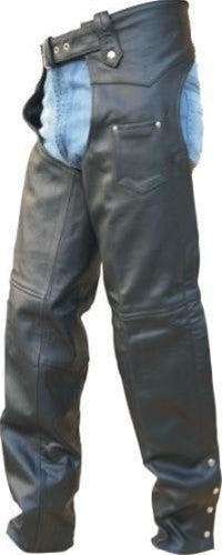 Tall Classic Black Buffalo Leather Motorcycle Chaps