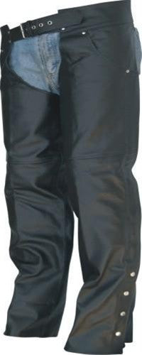 Unisex Jeans Style Black Split Leather Cowhide Motorcycle Chaps