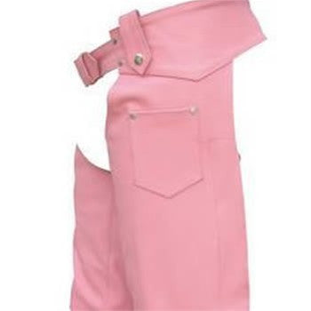 Women's Pink Plain Lined Hip Hugger Leather Motorcycle Chaps