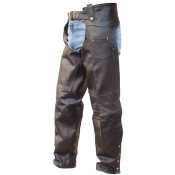 Unisex Black Split Leather Motorcycle Chaps with Lining