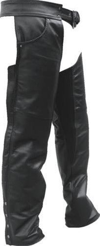 Unisex Black Leather Motorcycle Chaps with Braid Trim & Spandex Thighs