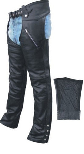 Unisex Black Leather Motorcycle Chaps with Zippered Pockets