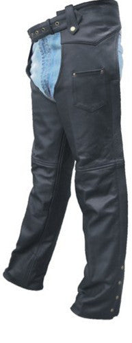 Unisex Black Leather Motorcycle Chaps with Antique Hardware