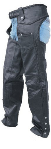 Unisex Black Leather Motorcycle Chaps with Braid Trim