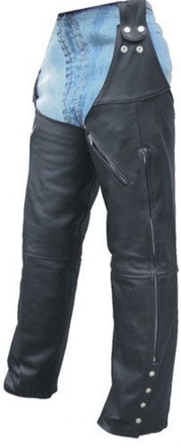 Unisex Black Leather Leg Warmer Motorcycle Chaps