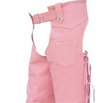 Women's Pink Lined Leather Motorcycle Chaps with Braid Trim & Fringes