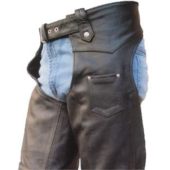 Unisex Plain Drum Dyed Naked Leather Motorcycle Chaps