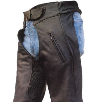 Unisex Premium Drum Dyed Naked Leather Motorcycle Chaps Spandex Waist