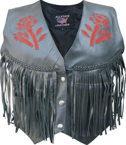 Women's Basic Black Lambskin Leather Motorcycle Vest Red Black Rose